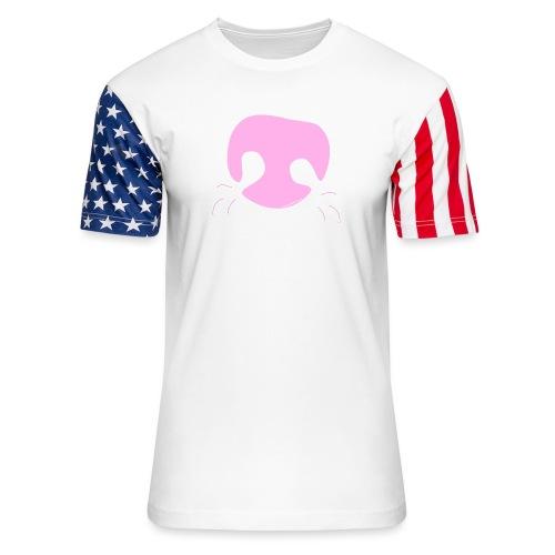 Pink Whimsical Dog Nose - Unisex Stars & Stripes T-Shirt