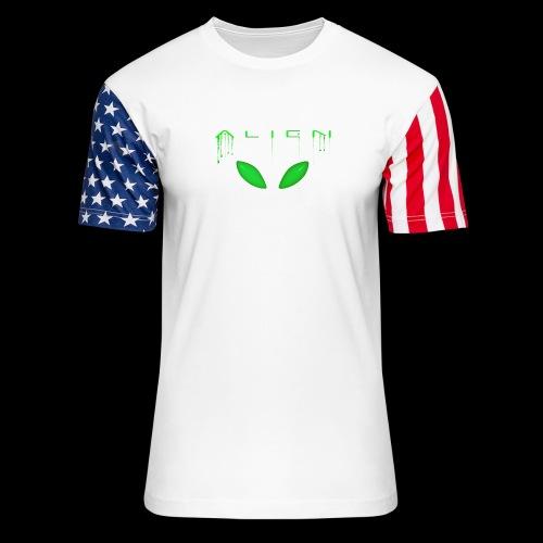 Alien Dribble with ET eyes - Green - Unisex Stars & Stripes T-Shirt