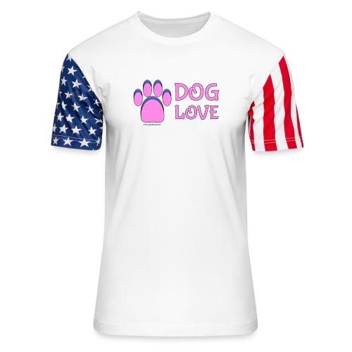 Pink Dog paw print Dog Love - Unisex Stars & Stripes T-Shirt