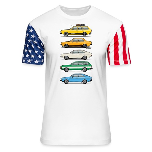 Stack of VAG B1 VDubs and Four Rings - Unisex Stars & Stripes T-Shirt