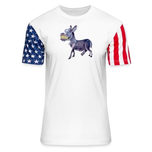 Funny Keep Smiling Donkey - Unisex Stars & Stripes T-Shirt