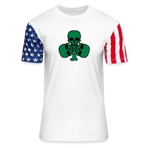 Skull Shamrock w/ Teeth - Unisex Stars & Stripes T-Shirt