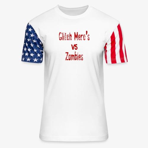 glitch zombie red - Unisex Stars & Stripes T-Shirt