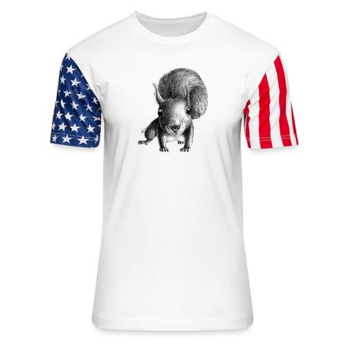 Cute Curious Squirrel - Unisex Stars & Stripes T-Shirt