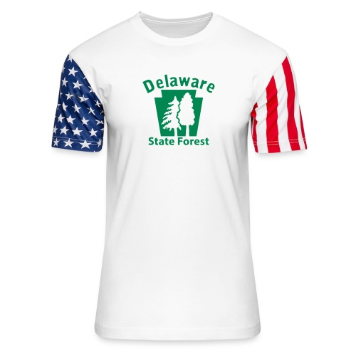 Delaware State Forest Keystone (w/trees) - Unisex Stars & Stripes T-Shirt