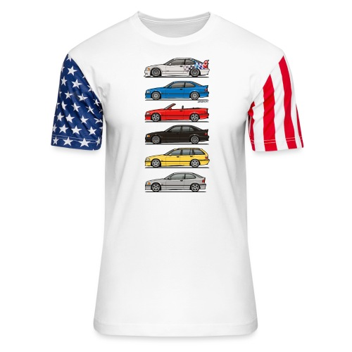 Stack of E36 Variants - Unisex Stars & Stripes T-Shirt