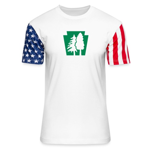 PA Keystone w/trees - Unisex Stars & Stripes T-Shirt
