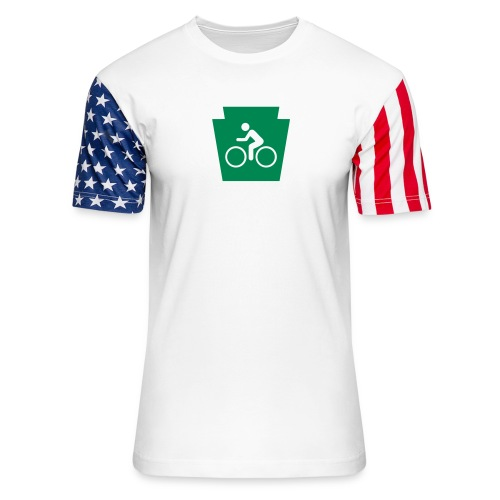 PA Keystone w/Bike (bicycle) - Unisex Stars & Stripes T-Shirt