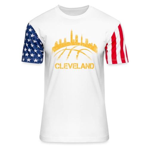 Cleveland Basketball Skyline - Unisex Stars & Stripes T-Shirt