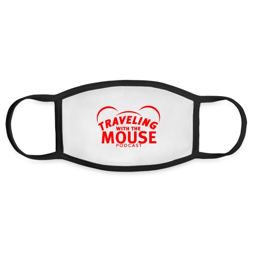 TravelingWithTheMouse logo transparent RED Cropped - Face Mask