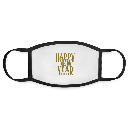 Metallic Gold Print Happy New Year 2021 - Face Mask