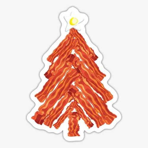 Funny Bacon and Egg Christmas Tree - Sticker