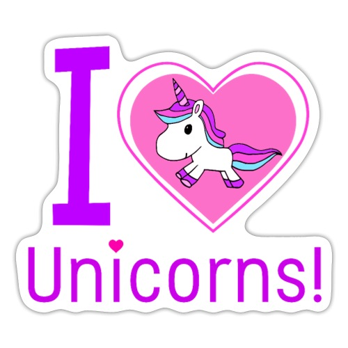 I Love Unicorns - Sticker