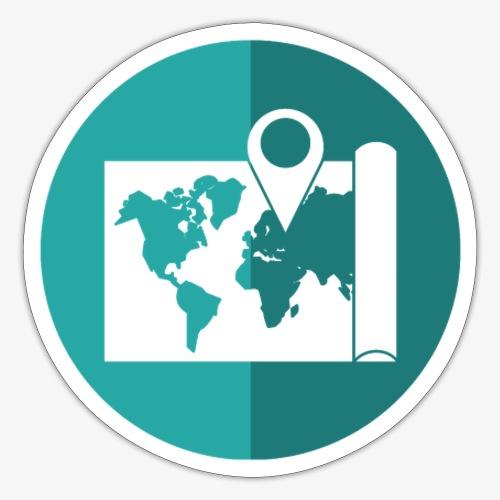 Blue World map pin - Sticker
