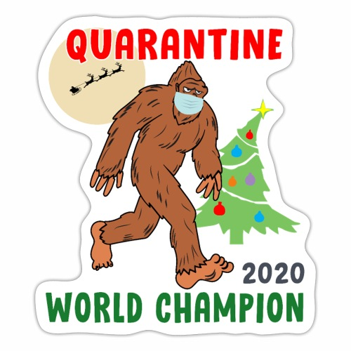 Quarantine World Champion Sasquatch Mask Christmas - Sticker
