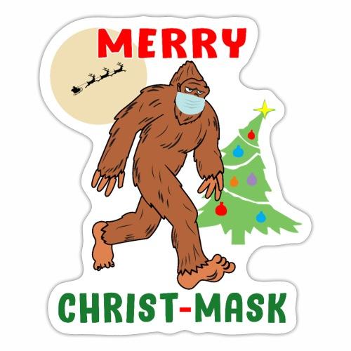 Merry Christmask Sasquatch Mask Social Distance. - Sticker