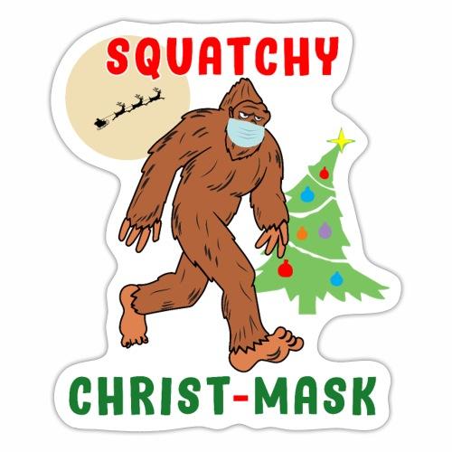 Bigfoot Squatchy Christmas Mask Social Distance. - Sticker
