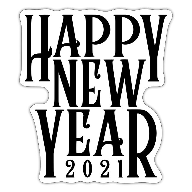 Metallic Gold Print Happy New Year 2021