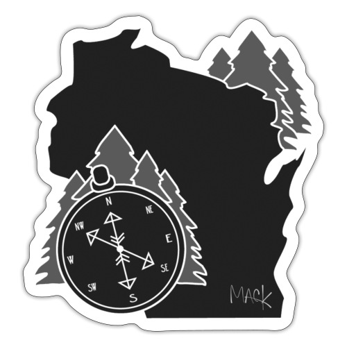 Black/White WI Logo - Sticker