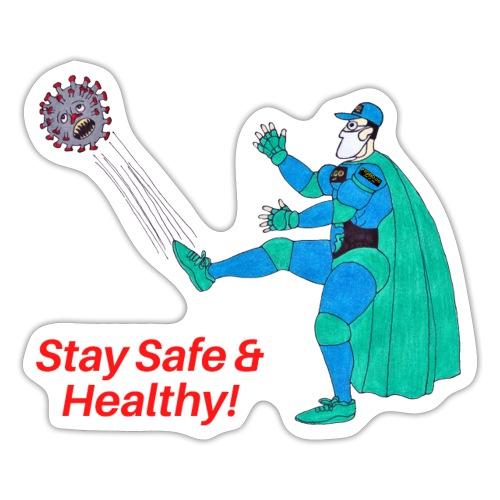 PYGOD Man kicking COVID 19 - Stay Safe Healthy - Sticker
