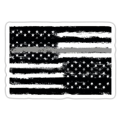 Grey Line American Flag - Sticker