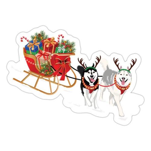 Siberian Husky Christmas Sleigh - Sticker