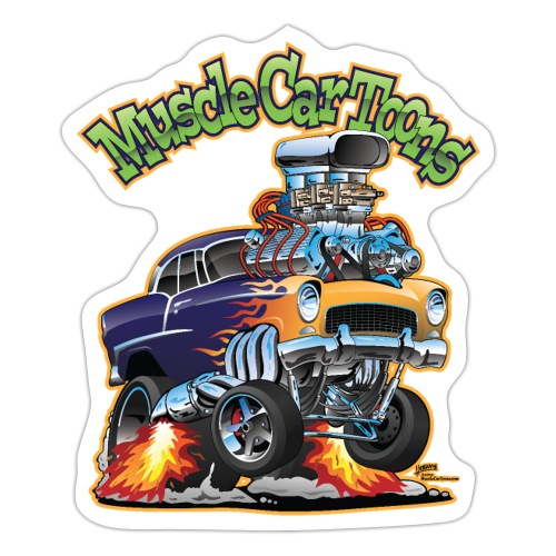 Muscle Car Toons Automotive Comic Book Cover Art - Sticker
