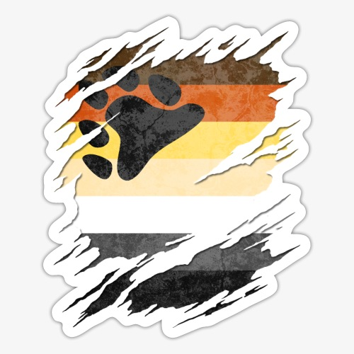 Gay Bear Pride Flag Ripped Reveal - Sticker
