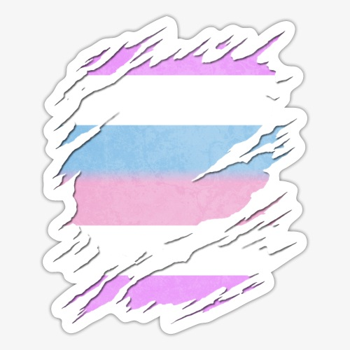 Bigender Pride Flag Ripped Reveal - Sticker