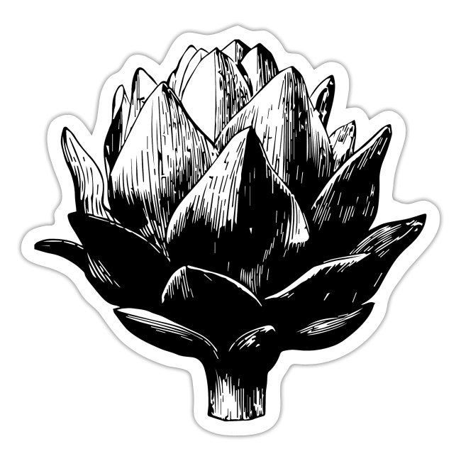 Big Artichoke Illustration - Black Ink, White Fill