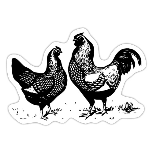 Vintage Rooster and Hen - farm style - Sticker