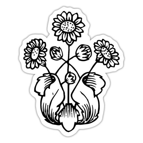 Vintage Sunflower Motif - Black Ink, White Fill - Sticker