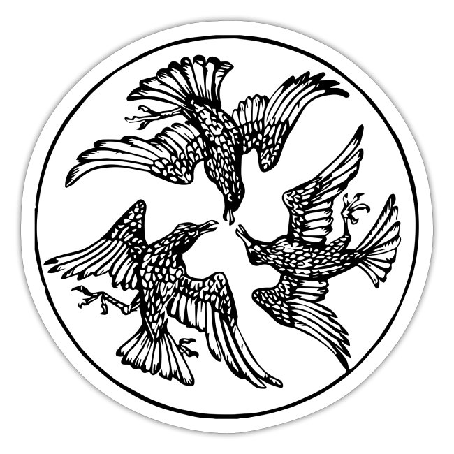 Three Crows in a Circle - Vintage Circle Motif