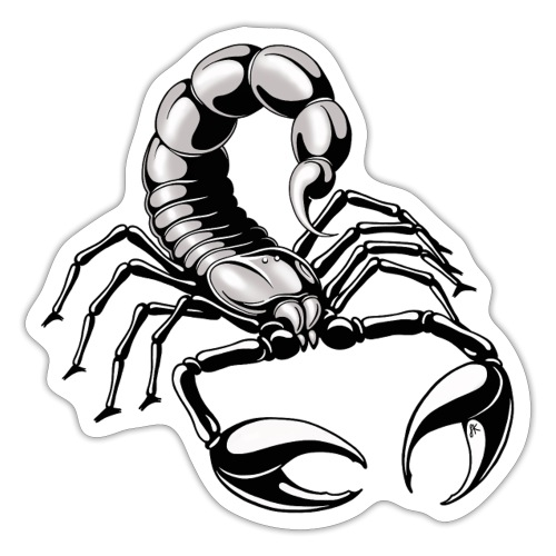scorpion - silver - grey - Sticker