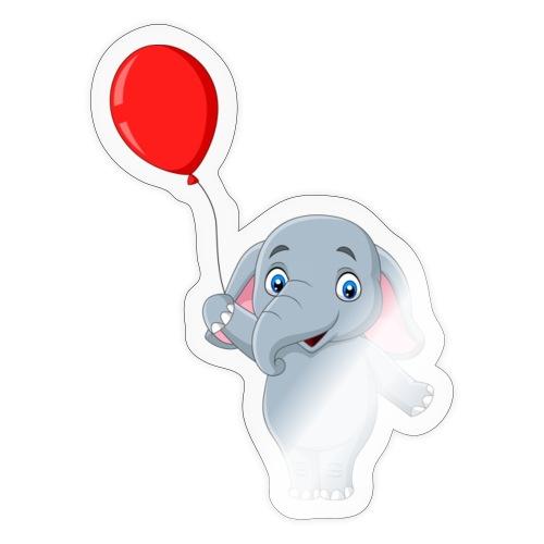 Baby Elephant Holding A Balloon - Sticker
