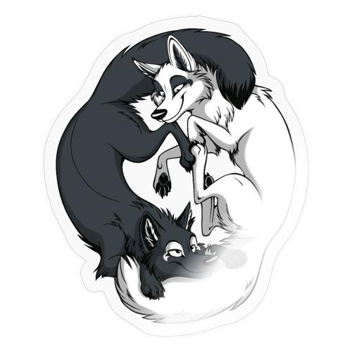Yin Yang Foxes (white border) - Sticker