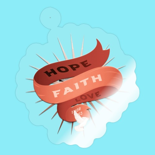 HOPE FAITH AND LOVE ribbon floating in the air - Sticker