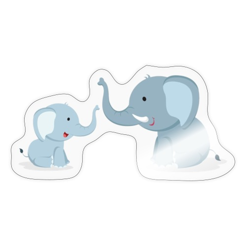 Father and Baby Son Elephant - Sticker