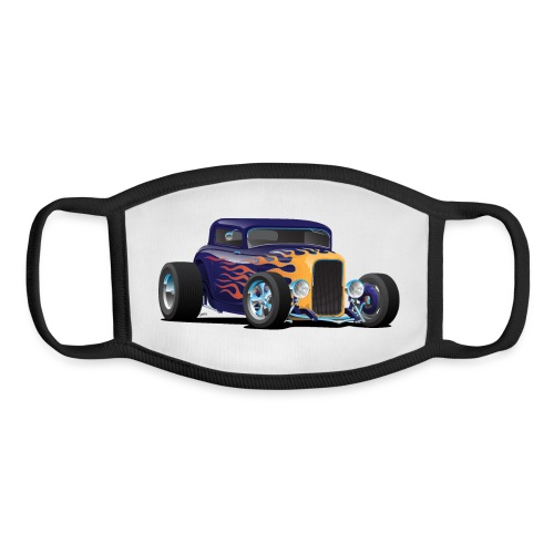 Vintage Hot Rod Car with Classic Flames - Youth Face Mask