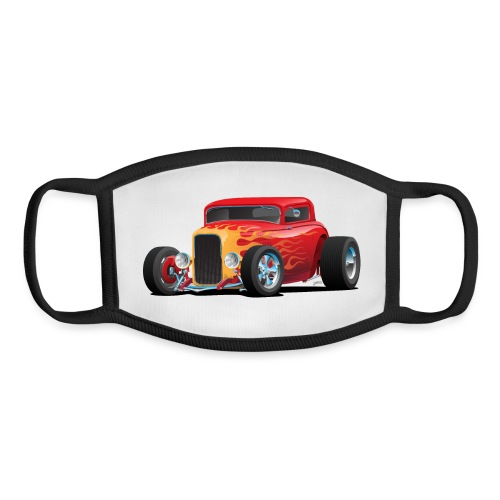 Classic Bold Red Custom Street Rod - Youth Face Mask