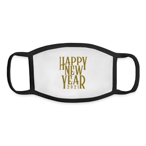 Metallic Gold Print Happy New Year 2021 - Youth Face Mask