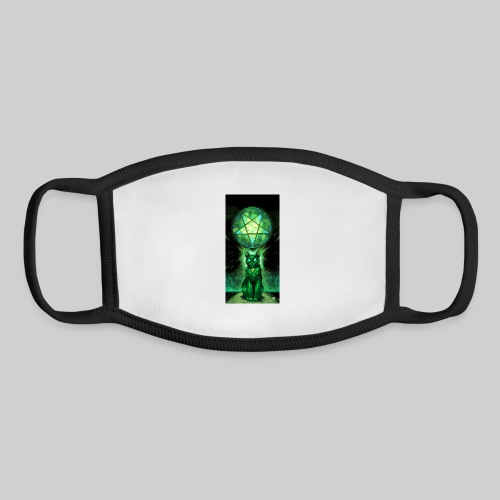 Green Satanic Cat and Pentagram Stained Glass - Youth Face Mask