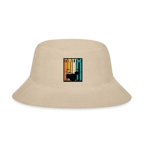 Retro Drum Set Silhouette Illustration - Bucket Hat