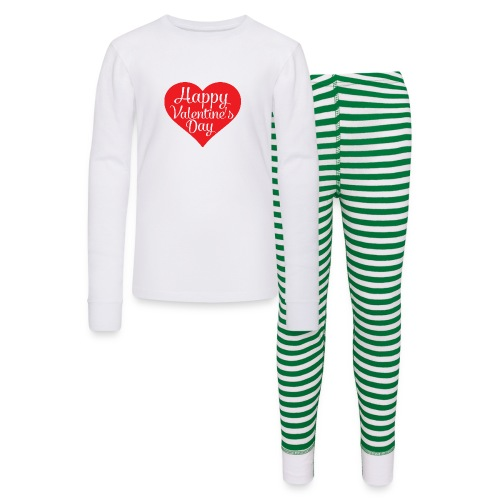 Happy Valentine s Day Heart T shirts and Cute Font - Kids' Pajama Set