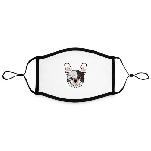 pngtree french bulldog dog cute pet - Adjustable Contrast Face Mask (Large)