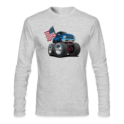 Monster Pickup Truck with USA Flag Cartoon - Men's Long Sleeve T-Shirt by Next Level