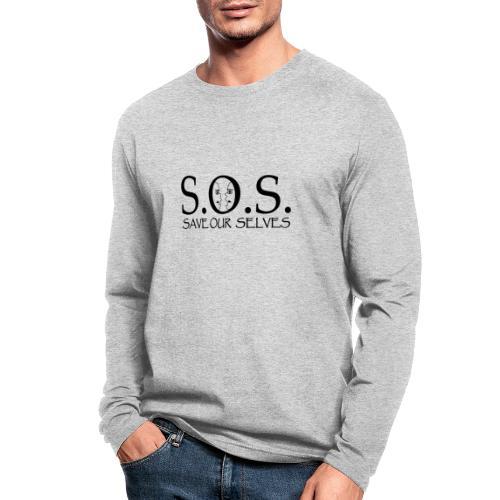 SOS Black on Black - Men's Long Sleeve T-Shirt by Next Level