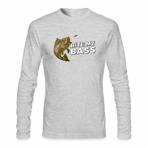 Bass Chasing a Lure with saying Bite My Bass - Men's Long Sleeve T-Shirt by Next Level
