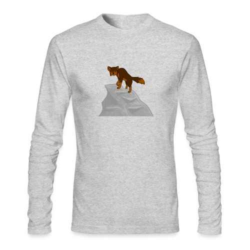 Wolf looking down on Boulder - Men's Long Sleeve T-Shirt by Next Level