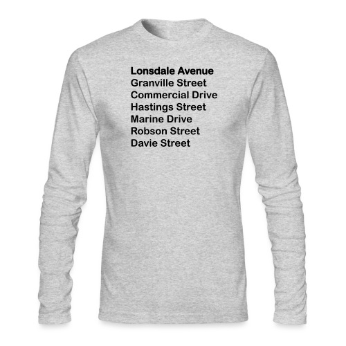 Street Names Black Text - Men's Long Sleeve T-Shirt by Next Level